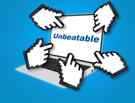 unbeatable: 3D illustration of Unbeatable script with pointing hand icons pointing at the laptop screen from all sides.