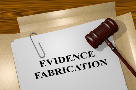 fabrication: 3D illustration of EVIDENCE FABRICATION title on Legal Documents. Legal concept. Stock Photo