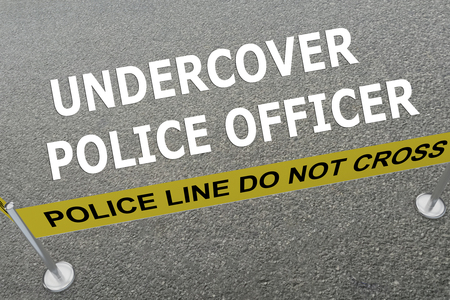 guard duty: 3D illustration of UNDERCOVER POLICE OFFICER title on the ground in a police arena. Police concept