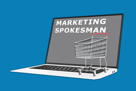 spokesman: 3D illustration of MARKETING SPOKESMAN  script with a supermarket cart placed on the keyboard. Marketing concept.