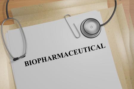 バイオ医薬品医療ドキュメント タイトルの 3 D イラスト。医療コンセプト。
