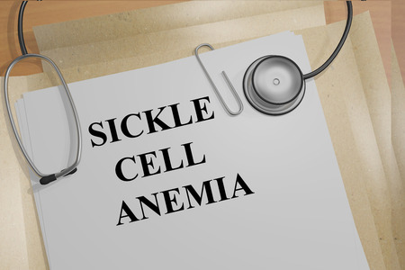 documents circulation: 3D illustration of SICKLE CELL ANEMIA title on medical documents. Medicial concept. Stock Photo