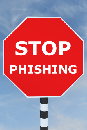 stop piracy: 3D illustration of STOP PHISHING title on road STOP sign. Warning concept.