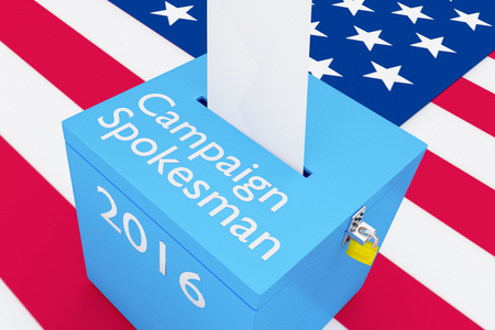 spokesman: 3D illustration of Campaign Spokesman, 2016 scripts and on ballot box, with US flag as a background. Election Concept. Stock Photo