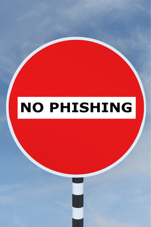 phishing: 3D illustration of NO PHISHING title on No Entry road sign. Phishing concept. Stock Photo
