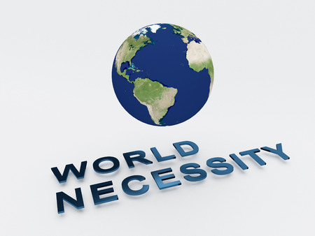 necessity: 3D illustration of WORLD NECESSITY script , under a 3D model of the world. World Concept. Stock Photo