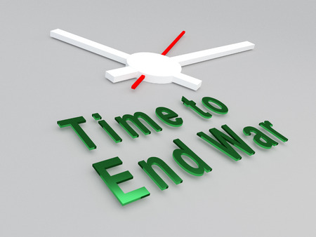 nuclear fear: 3D illustration of Time to End War title with a clock as a background. Time concept.