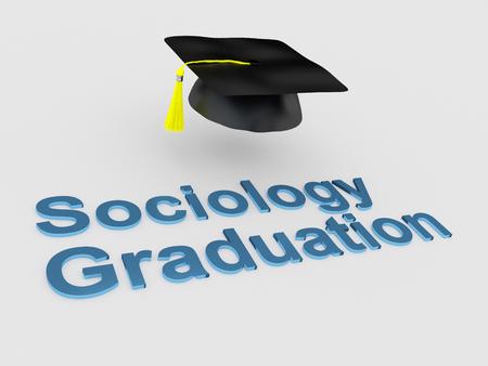 """sociology: Ilustración 3D de la escritura """"Sociología de la graduación"""" bajo un sombrero de graduación. concepto de la graduación."""