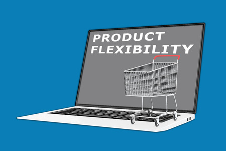 flexibility: 3D illustration of PRODUCT FLEXIBILITY script with a supermarket cart placed on the keyboard. Marketing concept.