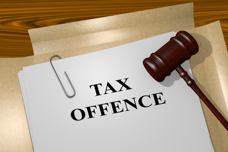 offence: 3D illustration of TAX OFFENCE title on Legal Documents. Legal concept. Stock Photo