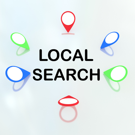 locality: 3D illustration of LOCAL SEARCH title surrounded by location markers. Locality concept.