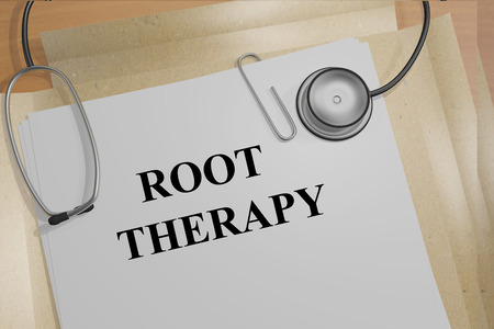 医療文書の根療法タイトルの 3 D イラストレーション。Medicial のコンセプトです。 写真素材