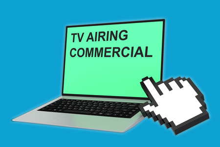 news cast: 3D illustration of TV AIRING COMMERCIAL script with pointing hand icon pointing at the laptop screen. TV Commercial concept.