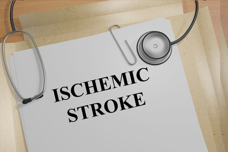 cerebral artery: 3D illustration of ISCHEMIC STROKE title on medical documents. Medicial concept. Stock Photo