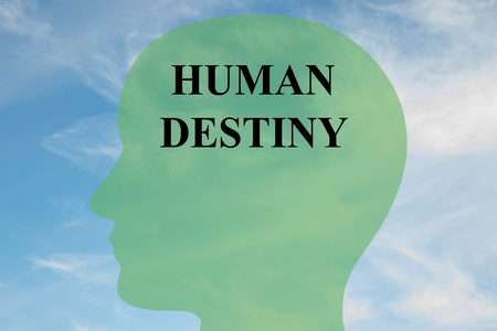 epistemology: Render illustration of HUMAN DESTINY script on head silhouette, with cloudy sky as a background. Human mind concept.