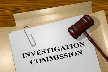 functionary: 3D illustration of INVESTIGATION COMMISSION title on Legal Documents. Legal concept. Stock Photo