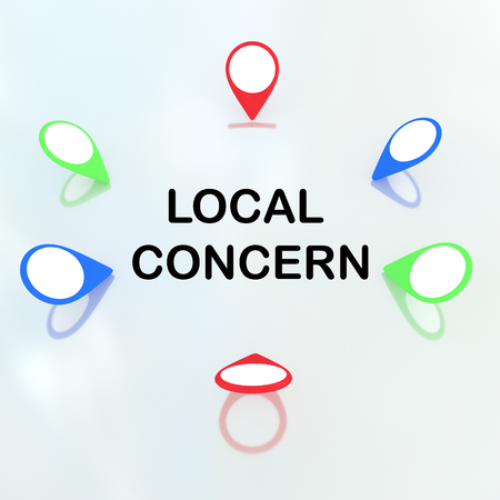 locality: 3D illustration of Local Concern title surrounded by location markers. Locality concept.