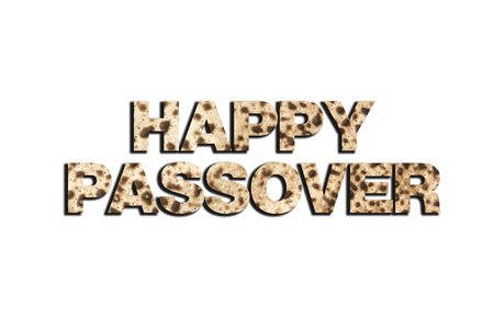 seyder: Happy Passover greeting on matzoh isolated on white