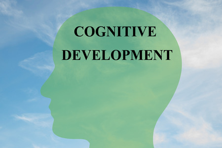 cognitive: Render illustration of COGNITIVE DEVELOPMENT script on head silhouette, with cloudy sky as a background. Human brain concept.