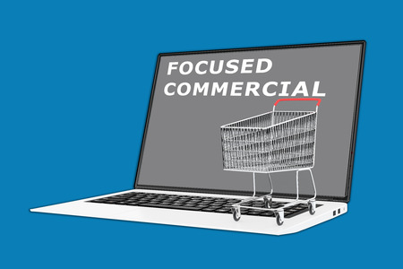 focused: 3D illustration of FOCUSED COMMERCIAL script with a supermarket cart placed on the keyboard. Commercial concept.