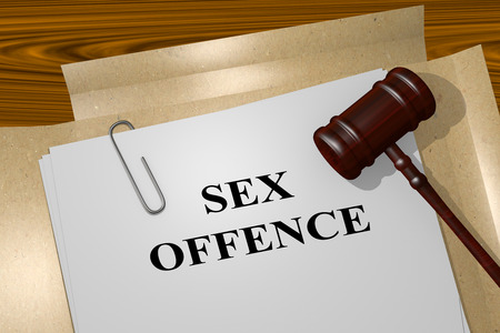 3D illustration of SEX OFFENCE title on Legal Documents. Legal concept. Stock Photo
