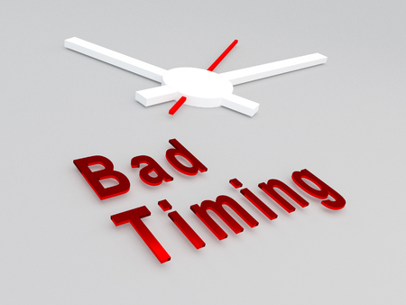 timing: 3D illustration of Bad Timing title with a clock as a background. Time concept.