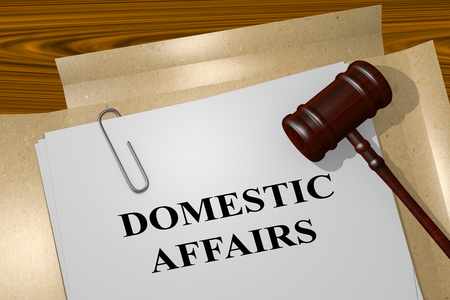 marital: 3D illustration of DOMESTIC AFFAIRS title on Legal Documents. Legal concept. Stock Photo