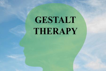 頭のシルエットは、曇り空の背景としてのゲシュタルト療法スクリプトの図をレンダリングします。人間の脳の概念。
