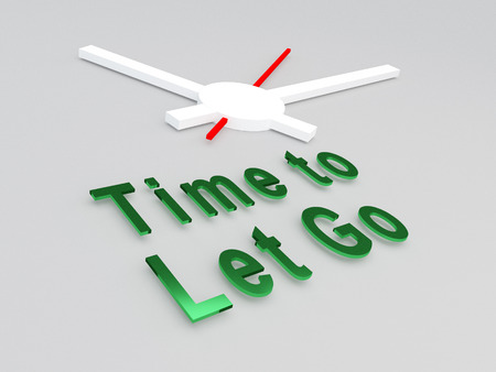 trouble free: 3D illustration of Time to Let Go title with a clock as a background. Time concept.