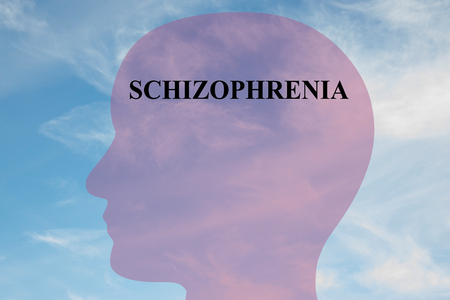 losing memories: Render illustration of SCHIZOPHRENIA script on head silhouette, with cloudy sky as a background. Human mental concept.