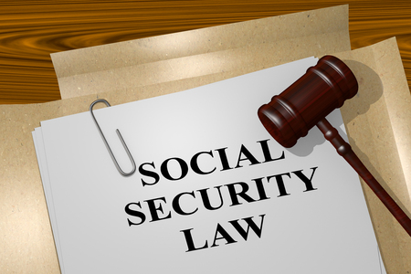 tax attorney: 3D illustration of SOCIAL SECURITY LAW title on Legal Documents. Legal concept. Stock Photo