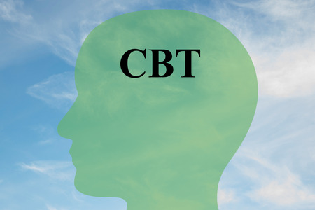 Render illustration of CBT script on head silhouette, with cloudy sky as a background. Human mentality concept.