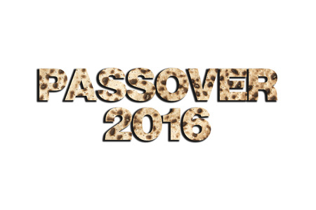 seyder: Passover 2016 curved in Matzo texture isolated on white Stock Photo