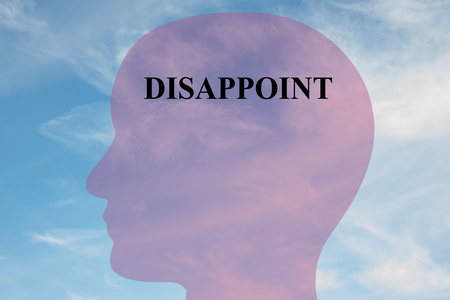 disgruntled: Render illustration of DISAPPOINT script on head silhouette, with cloudy sky as a background. Human mental concept.