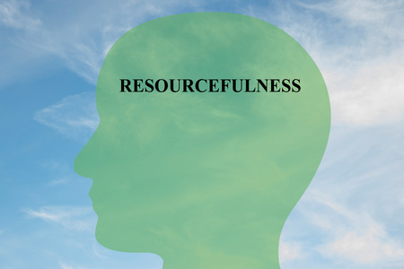 resourcefulness: Render illustration of RESOURCEFULNESS title on head silhouette, with cloudy sky as a background. Human mentality concept. Stock Photo