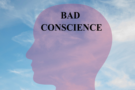 conscience: Render illustration of BAD CONSCIENCE script on head silhouette, with cloudy sky as a background. Human mental concept.
