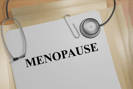 uncomfortable: 3D illustration of MENOPAUSE title on medical documents. Medicial concept. Stock Photo