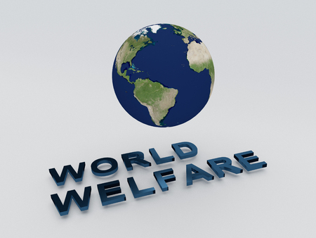 animal abuse: 3D illustration of WORLD WELFARE script , under a 3D model of the world. World Concept. Stock Photo