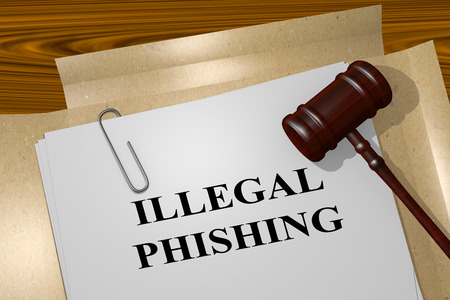 malicious software: 3D illustration of ILLEGAL PHISHING title on Legal Documents. Legal concept. Stock Photo