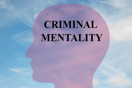 narcissistic: Render illustration of CRIMINAL MENTALITY script on head silhouette, with cloudy sky as a background. Human mental concept.