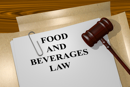 mart: 3D illustration of FOOD AND BEVERAGES LAW title on Legal Documents. Legal concept. Stock Photo