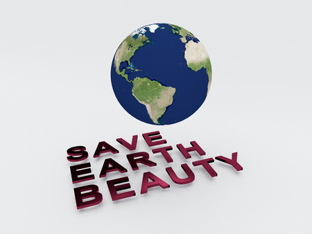 environmental awareness: 3D illustration of SAVE EARTH BEAUTY script , under a 3D model of the world. World Concept. Stock Photo