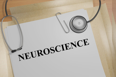 neuroscience: 3D illustration of NEUROSCIENCE title on medical documents. Medicial concept.