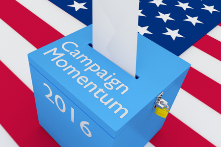 polling station: 3D illustration of Campaign Momentum, 2016 scripts and on ballot box, with US flag as a background. Election Concept. Stock Photo