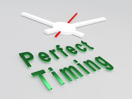 career timing: 3D illustration of Perfect Timing title with a clock as a background. Time concept. Stock Photo