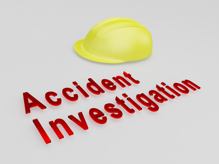 fatal: 3D illustration of Accident Investigation title under a safety helmet. Safety concept.