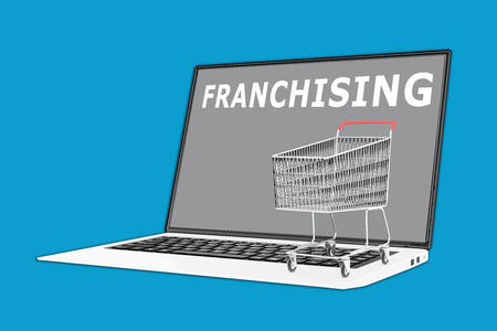 franchising: 3D illustration of FRANCHISING script with a supermarket cart placed on the keyboard. Marketing concept.
