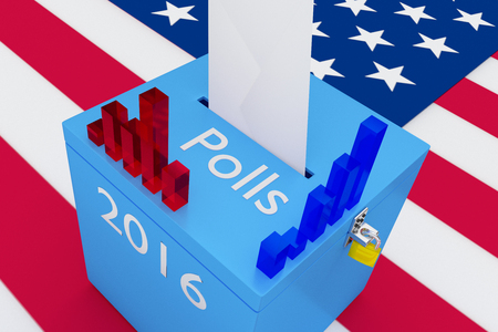 local elections: 3D illustration of Polls, 2016 scripts and 3d graph columns on ballot box, with US flag as a background. Election Concept.