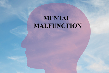 malfunction: Render illustration of MENTAL MALFUNCTION script on head silhouette, with cloudy sky as a background. Human mental concept.