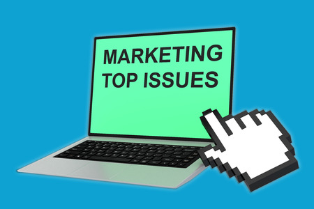 issue: 3D illustration of MARKETING TOP ISSUES script with pointing hand icon pointing at the laptop screen. Marketing concept. Stock Photo